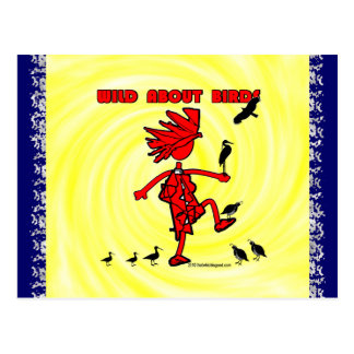 Wild About Birds Red Design Post Card