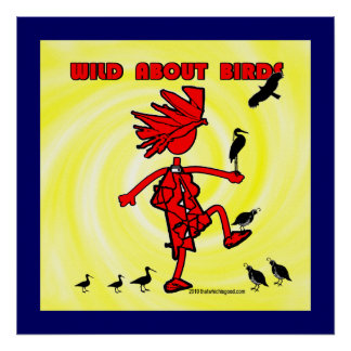 Wild About Birds Red Design Posters