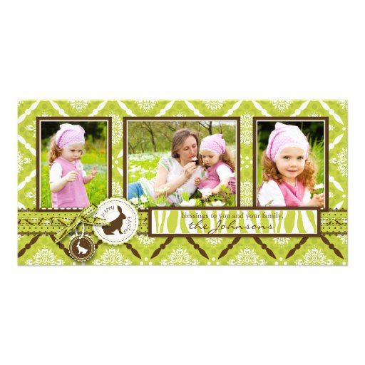 Wild About Bunnies Photo Trio Card Photo Greeting Card