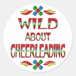 Wild About Cheerleading Round Sticker