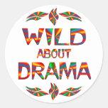 Wild About Drama Round Stickers