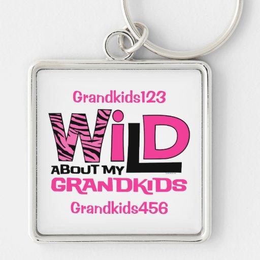 Wild About My Grandkids Personalized Keychain