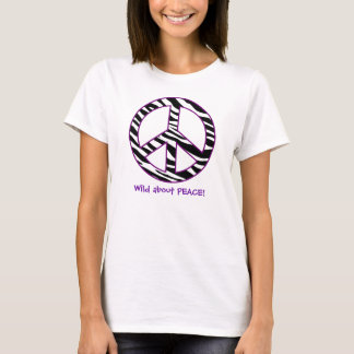 Wild about Peace T-Shirt Black White Purple