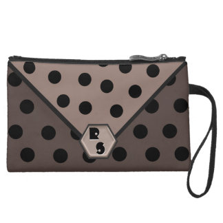 Wild About Polka Dots_Black on Taupe_Monogrammed Suede Wristlet Wallet
