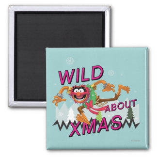 Wild about Xmas 2 Inch Square Magnet