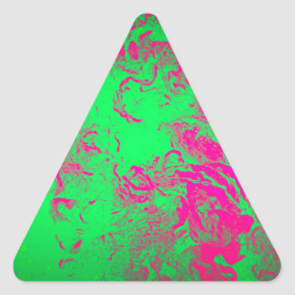 Wild Abstract Hot Pink and Neon Green Design Triangle Sticker
