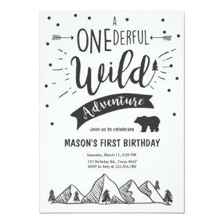 Wild adventure First birthday invitation one Boy