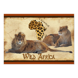 "Wild Africa, Lions, Map Travel Agents Cards 5"" X 7"" Invitation Card"