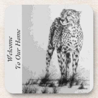Wild African Cheetah, Forever Free, Retro Design Beverage Coaster