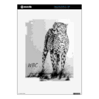 Wild African Cheetah, Forever Free, Retro Design Decals For The iPad 2