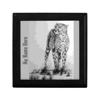 Wild African Cheetah, Forever Free, Retro Design Keepsake Box