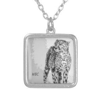 Wild African Cheetah, Forever Free, Retro Design Square Pendant Necklace