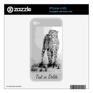 Wild African Cheetah, Forever Free, Retro Design Skin For The iPhone 4S