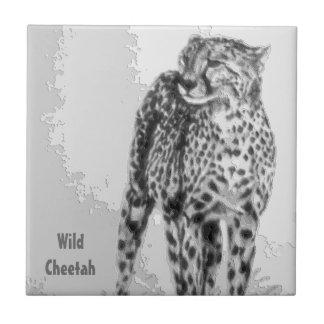 Wild African Cheetah, Forever Free, Retro Design Tiles