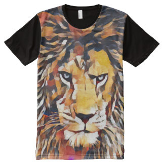 Wild African Lion Cubist Wildlife Painting All-Over-Print Shirt