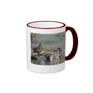 wild american wigeon duck ringer ceramic mug