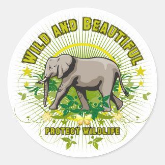 Wild and Beautiful Elephant Classic Round Sticker