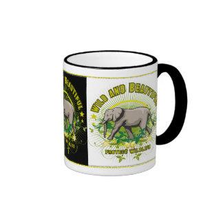 Wild and Beautiful Elephant Ringer Coffee Mug