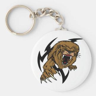 Wild and Brown Lion roaring Basic Round Button Keychain
