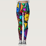 """Wild and Crazy Leggings<br><div class=""""desc"""">Leggings with the wildest and craziest design! Similar to 70&#39;s style hippie art with so many bright colors and fun things like hearts,  flowers,  stars,  stripes and more. A fun and funky design.</div>"""