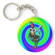 Wild and Crazy Rooster Keychain