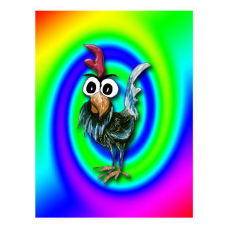 Wild and Crazy Rooster Postcard