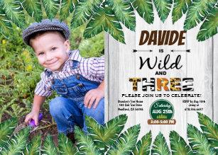 Wild And Free 3rd Birthday Party Photo Invitation
