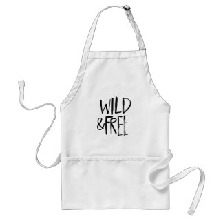 Wild and Free | Black Brush Script style Adult Apron