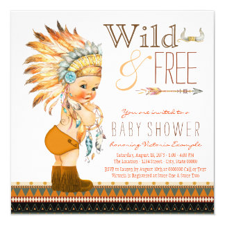Wild and Free Boys Tribal Baby Shower Card