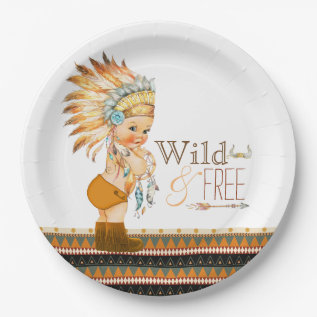 Wild And Free Boys Tribal Baby Shower Paper Plate at Zazzle