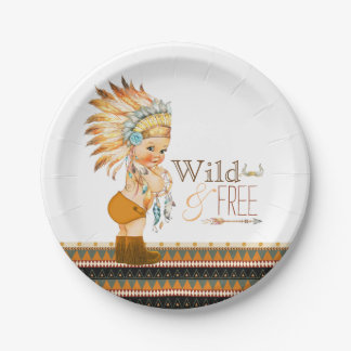 Wild and Free Boys Tribal Baby Shower Paper Plate