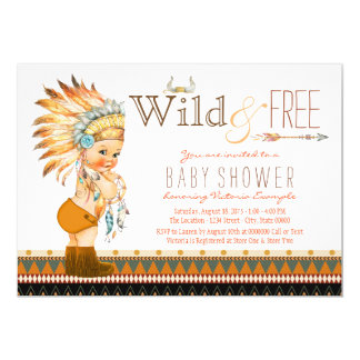 Wild and Free Boys Tribal Boho Baby Shower Card