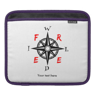 Wild And Free Compass Typography Sleeve For iPads