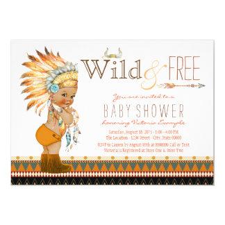 Wild and Free Ethnic Boys Tribal Boho Baby Shower Card