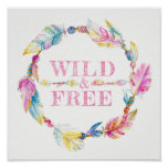 Wild and free feather bead watercolor art poster