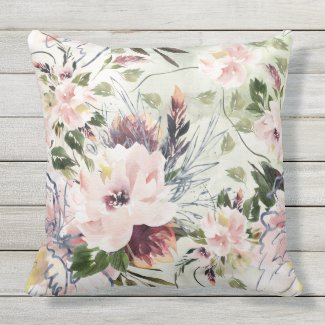 Wild and Free Floral Watercolor Art Pillow 20x20