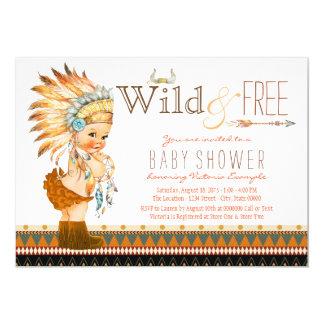 Wild and Free Girls Boho Tribal Baby Shower Card