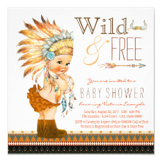 Wild and Free Girls Tribal Baby Shower Card