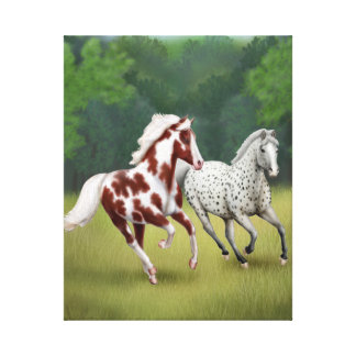 Wild and Free Horses Wrapped Canvas