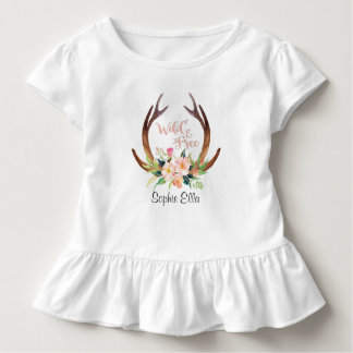 Wild and Free Watercolor Deer Antler and Flower Toddler T-shirt