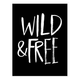 Wild and Free | White Brush Script style Postcard