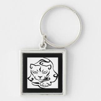 Wild and Gorgeous Cougar Silver-Colored Square Keychain