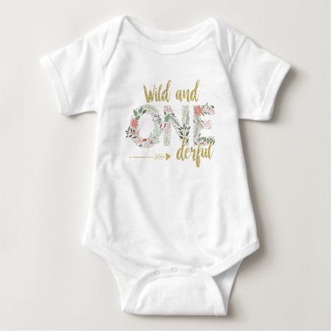 Wild and OneDerful First Birthday Baby Girl Baby Bodysuit