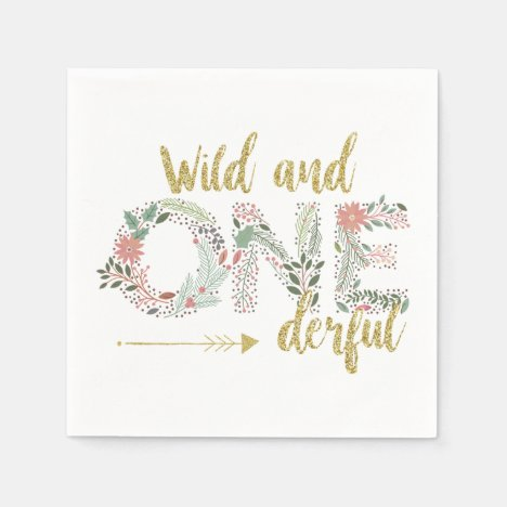 Wild and Onederful First Birthday Baby Girl Napkins