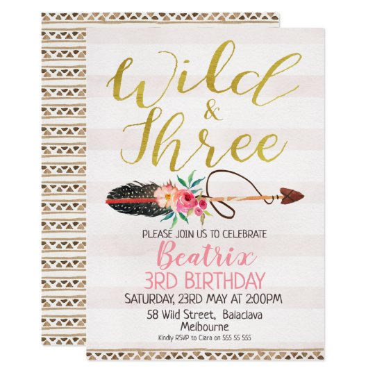 Wild And Three Girls 3rd Birthday Invitation Zazzlecom