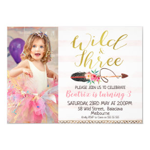 Wild And Three Girls Photo 3rd Birthday Invitation