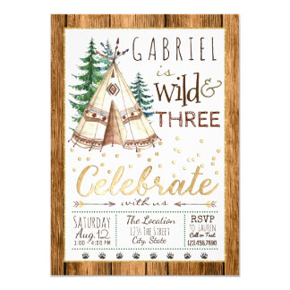 Wild and Three Tribal TeePee Third 3rd Birthday Card