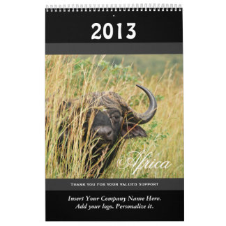 Wild animal Africa 2013 PERSONALIZE Wall Calendar