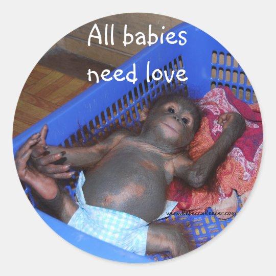Wild Animal Baby Rescue Classic Round Sticker