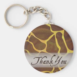 Wild Animal Giraffe Thank You Basic Round Button Keychain